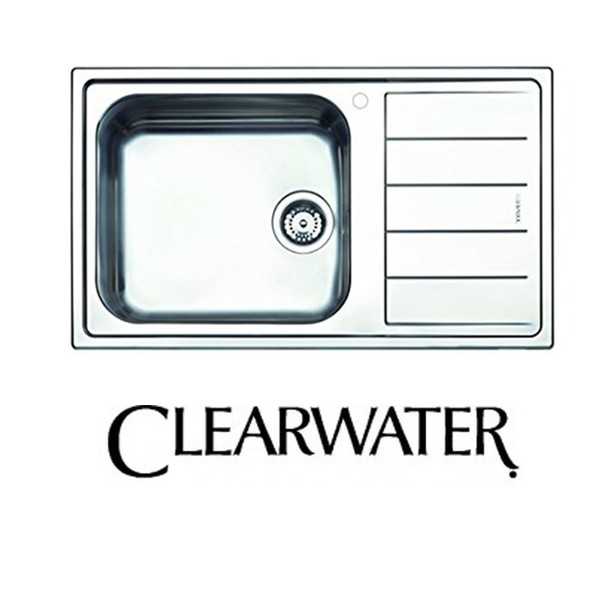 Clearwater Linear 1 Bowl RHD Modern Brushed Stainless Steel Kitchen Sink & Waste