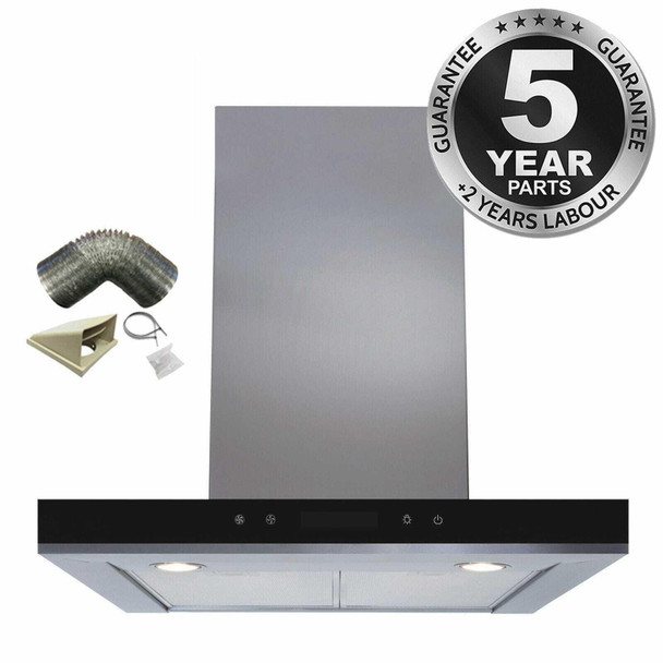 SIA 60cm Stainless Steel Linear Touch Control Cooker Hood Extractor &1m Ducting