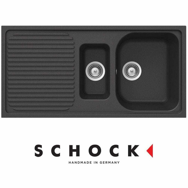 Schock Lithos D150 1.5 Bowl Onyx Black Reversible Granite Kitchen Sink And Waste