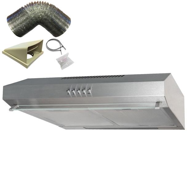 SIA 50cm Stainless Steel Slimline Visor Cooker Hood Extractor Fan &3m Ducting