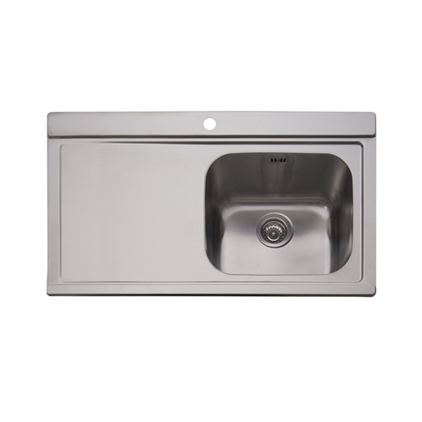 Clearwater Mirage 1 Bowl LHD Stainless Steel Sink & White Glass Chopping Boards