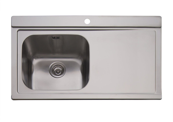Clearwater Mirage 1 Bowl RHD Stainless Steel Sink & White Glass Chopping Boards