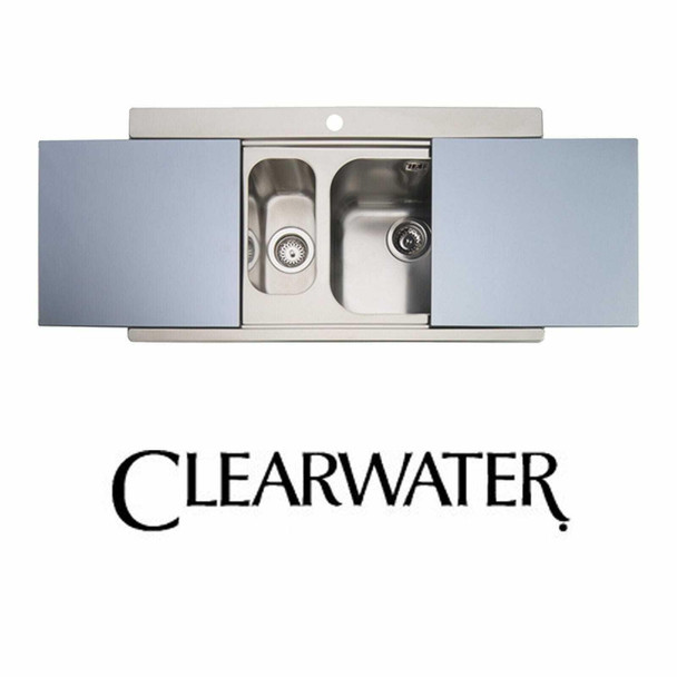 Clearwater Mirage 1.5 Bowl Stainless Steel Sink & Silver Glass Chopping Boards