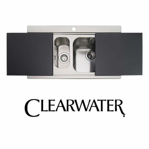 Clearwater Mirage 1.5 Bowl Stainless Steel Sink & Black Glass Chopping Boards