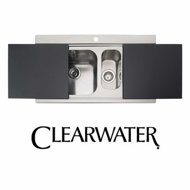 Clearwater Mirage Stainless Steel 1.5 Bowl Sink RHD & Black Glass Chopping Board