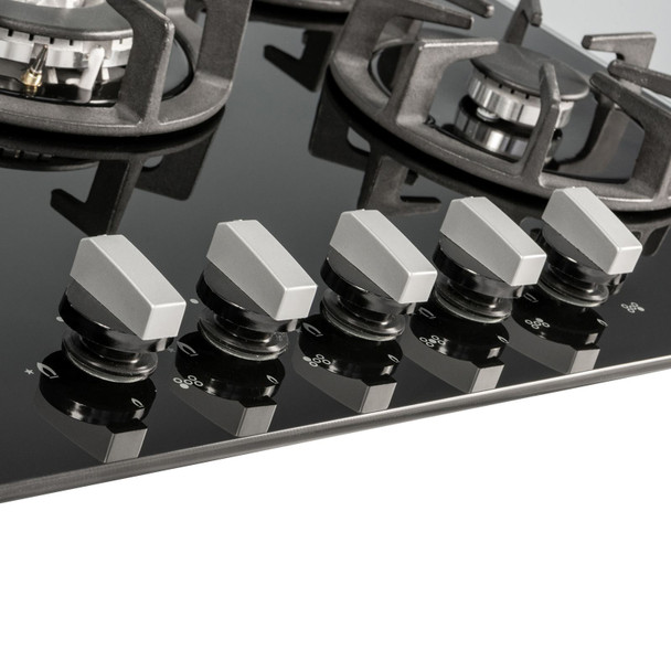 SIA R8 70cm Black 5 Burner Gas On Glass Hob With Cast Iron Pan Stands