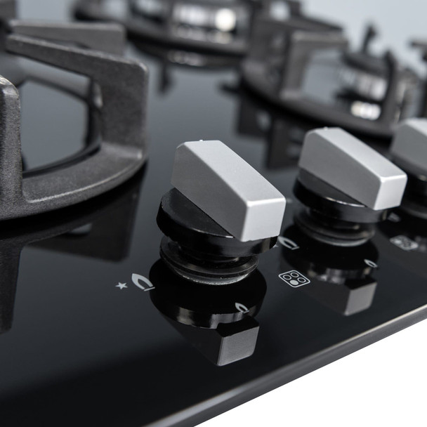 SIA R7 60cm Black 4 Burner Gas On Glass Kitchen Hob With Cast Iron Pan Stands
