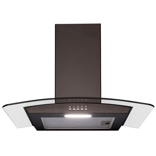 SIA 70cm Black 5 Burner Gas On Glass Hob & Curved Glass Kitchen Cooker Hood Fan
