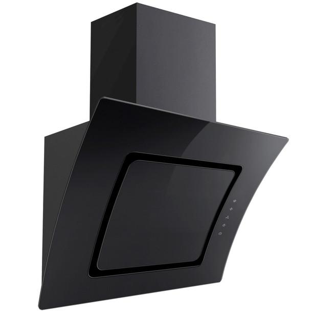 SIA 70cm Black 5 Burner Gas On Glass Hob &Angled Curved Glass Cooker Hood Fan