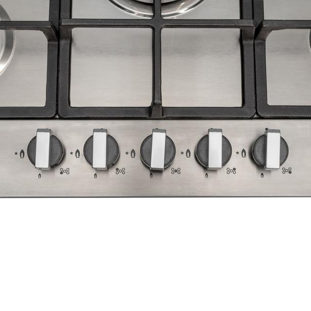 SIA R6 70cm Stainless Steel 5 Burner Gas Hob &Chimney Extractor Cooker Hood Fan