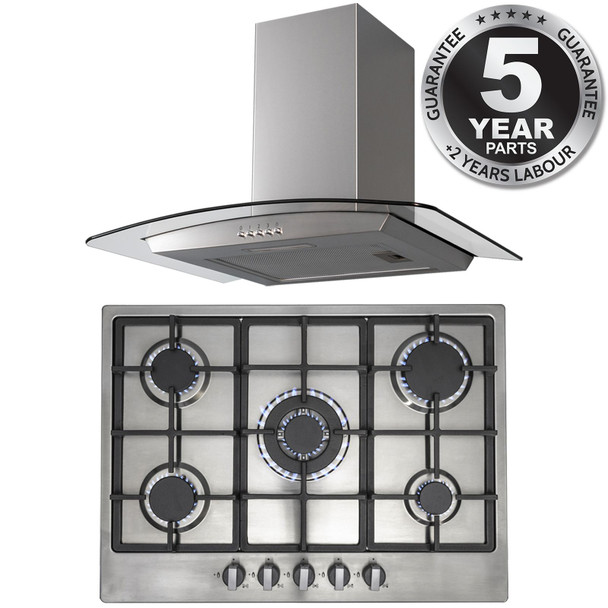 SIA R6 70cm Stainless Steel 5 Burner Gas Hob And Curved Glass Cooker Hood Fan