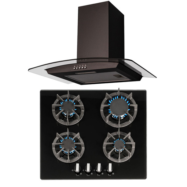 SIA R7 60cm 4 Burner Black Gas On Glass Hob & Curved Glass Cooker Hood Extractor