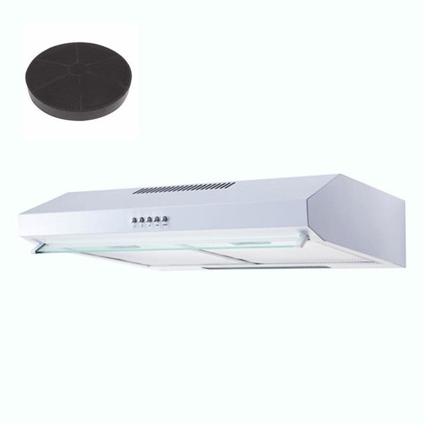 SIA STH50WH 50cm White Slimline Visor Cooker Hood Extractor Fan &Carbon Filter