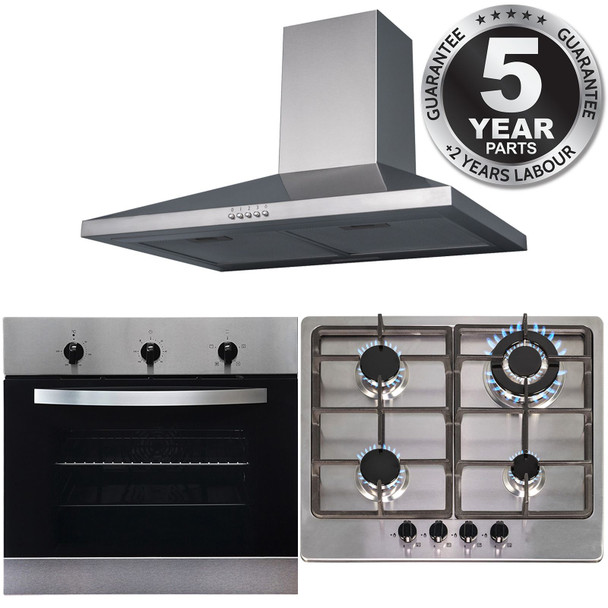 SIA 60cm Stainless Steel Electric True Fan Oven, 4 Burner Gas Hob &Cooker Hood