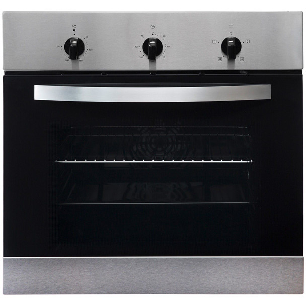 SIA 60cm Stainless Steel Single Electric True Fan Oven & 4 Zone Electric Hob