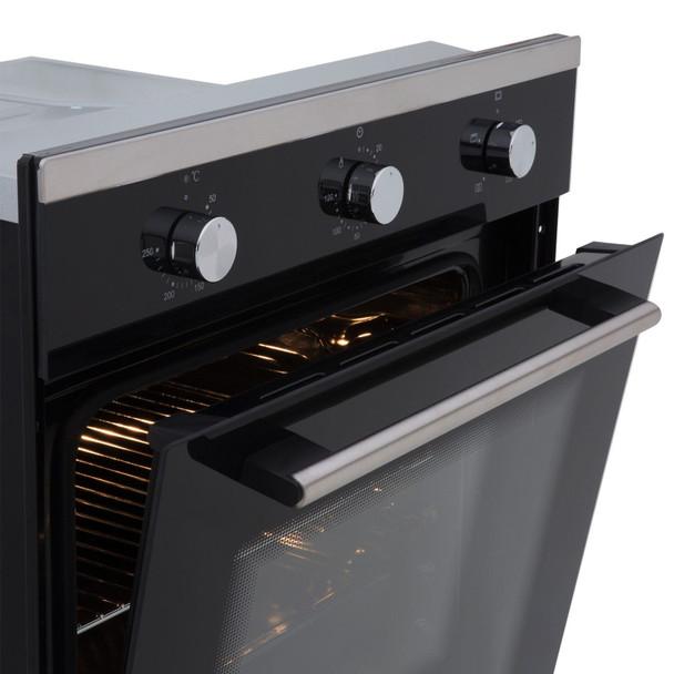 SIA 60cm Black Single Electric True Fan Oven & 4 Zone Flexi-Bridge Induction Hob