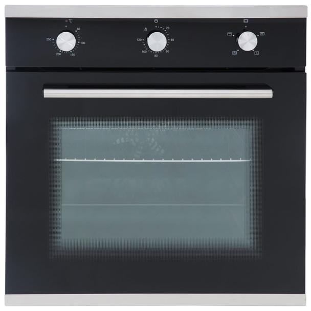 SIA 60cm Black True Fan Single Electric Oven And 70cm 5 Burner Gas On Glass Hob