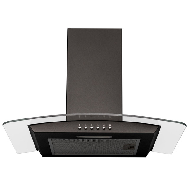 SIA CPLE60BL 60cm Edge Lit Curved Glass Black Cooker Hood And Glass Splashback