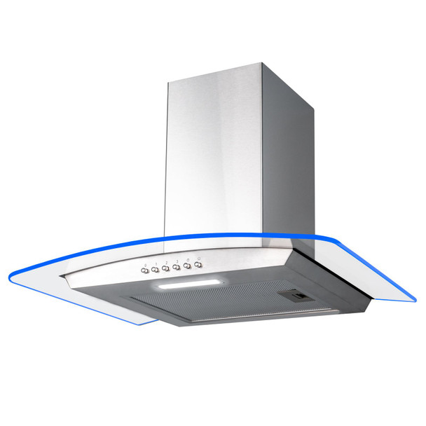 SIA 60cm Stainless Steel Edge Lit Curved Glass Cooker Hood And Glass Splashback
