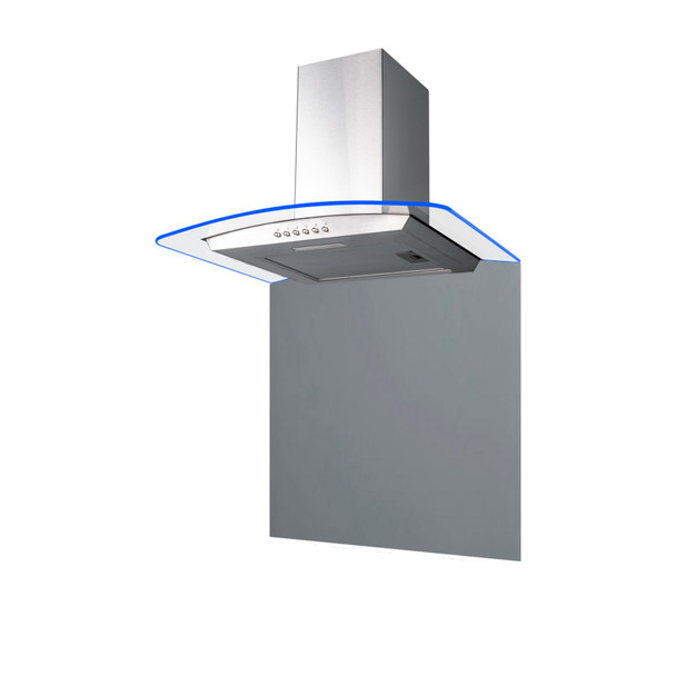 SIA 70cm Stainless Steel Edge Lit Curved Glass Cooker Hood And Glass Splashback