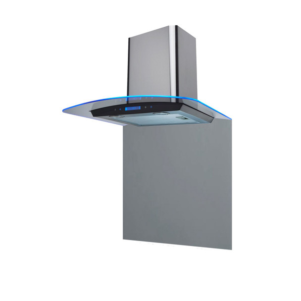 SIA 60cm Stainless Steel Curved Edge Lit Glass Cooker Hood And Glass Splashback