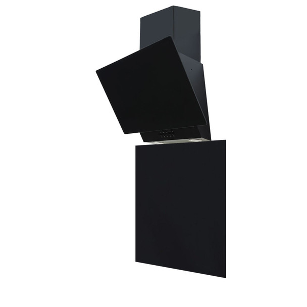 SIA EAG61BL 60cm Black Angled Glass Cooker Hood And Toughened Glass Splashback