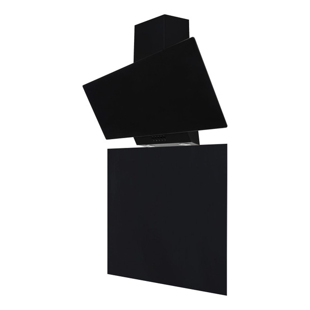SIA EAG91BL 90cm Black Angled Glass Cooker Hood And Toughened Glass Splashback