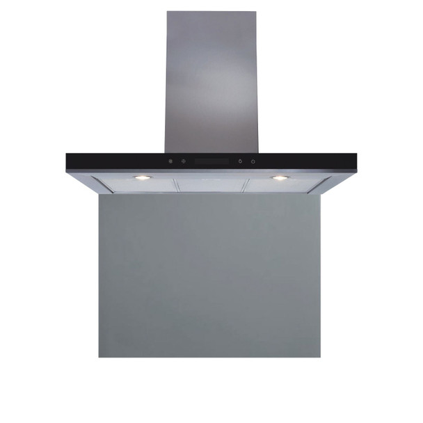SIA 90cm Stainless Steel Linear Touch Control Cooker Hood And Glass Splashback