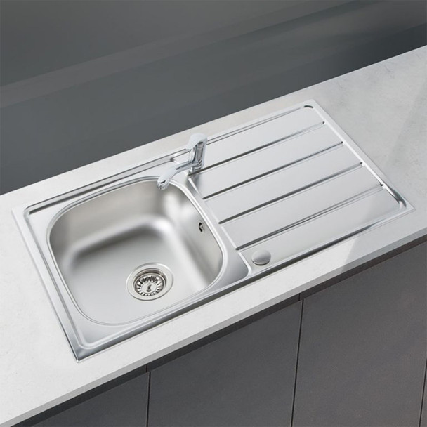 SIA 1.0 Bowl Reversible Stainless Steel Kitchen Sink And Waste Kit W965 x D500mm