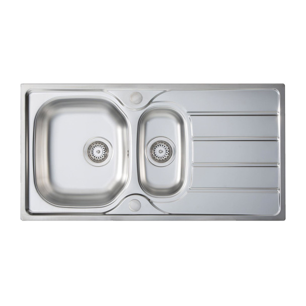 SIA 1.5 Bowl Reversible Stainless Steel Kitchen Sink And Waste Kit W965 x D500mm