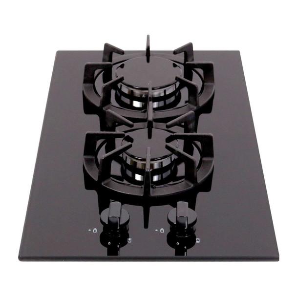 SIA BGH30BL 30cm Black Gas On Glass Domino Hob | Cast Iron Pan Support | LPG Kit