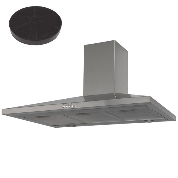 SIA CHL90SS 90cm Stainless Steel Chimney Cooker Hood Kitchen And Carbon Filter