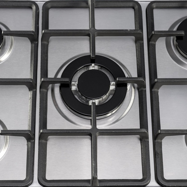 SIA SSG701SS 70cm Stainless Steel 5 Burner Gas Hob With Cast Iron Pan Stands