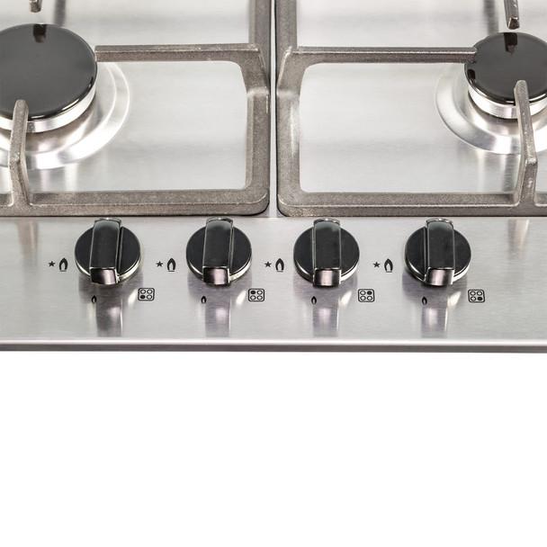 SIA 60cm Stainless Steel 4 Burner Gas Hob  & Curved Glass Chimney Cooker Hood Fan