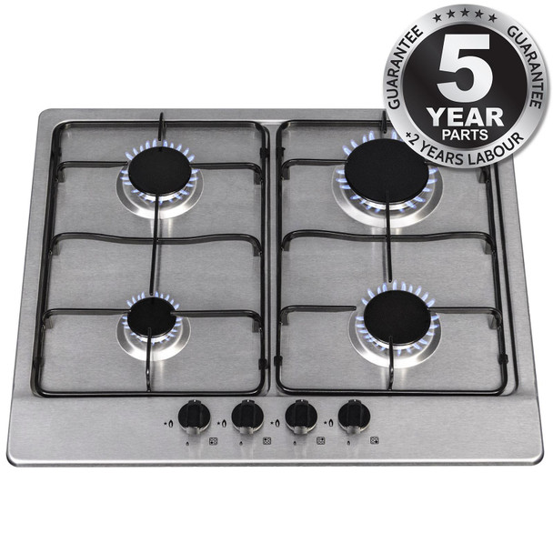 SIA SSG602SS 60cm Stainless Steel 4 Burner Gas Hob with Enamel Pan Stands
