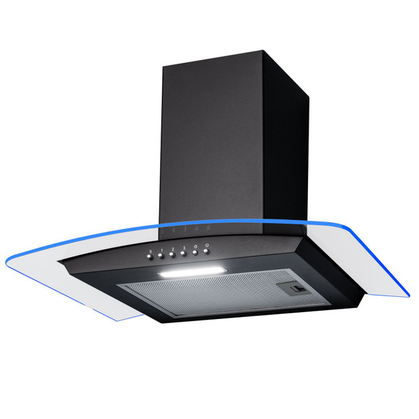 SIA CPLE60BL 60cm Black 3 Colour Edge Lit Curved Glass Cooker Hood Extractor Fan