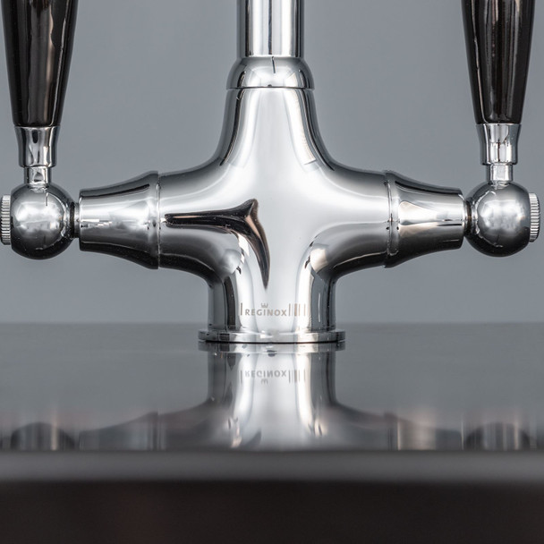 Reginox Brooklyn Polished Chrome Traditional Black Handle Swan Neck Kitchen Tap