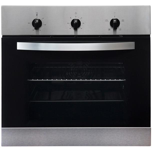 SIA 60cm Stainless Steel Single Electric True Fan Oven  & 4 Burner Gas Burner Hob