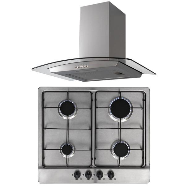 SIA 60cm Stainless Steel Gas 4 Burner Hob & Curved Glass Chimney Cooker Hood Fan