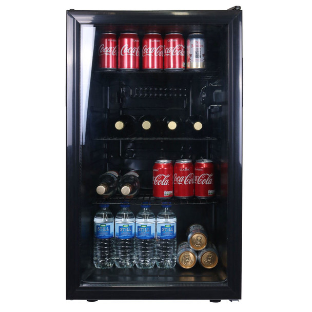 SIA DC1BL 126L Under Counter Drinks Fridge, Beer And Wine Cooler With Glass Door