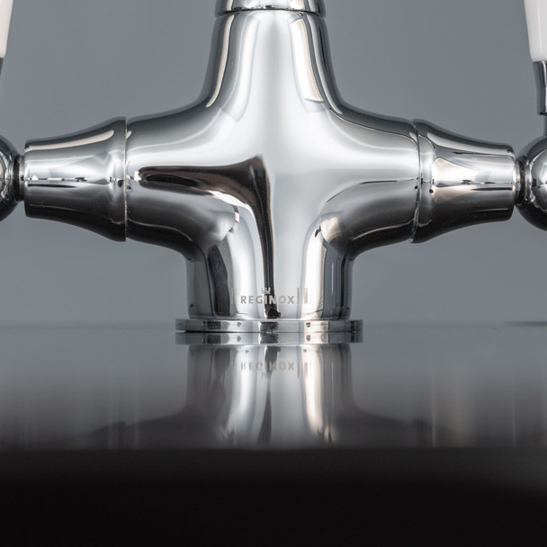 Reginox Elbe Chrome Traditional Twin Lever Swan Neck Kitchen Sink Mixer Tap