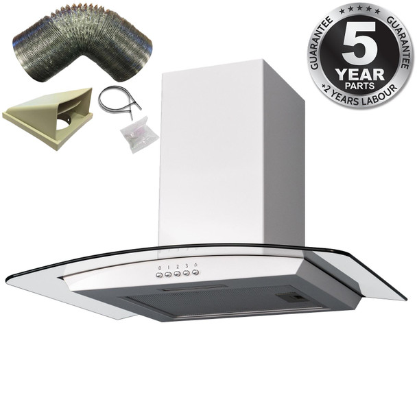 SIA 60cm Curved Glass Cooker Hood Kitchen Extractor Fan In White And 3m Ducting