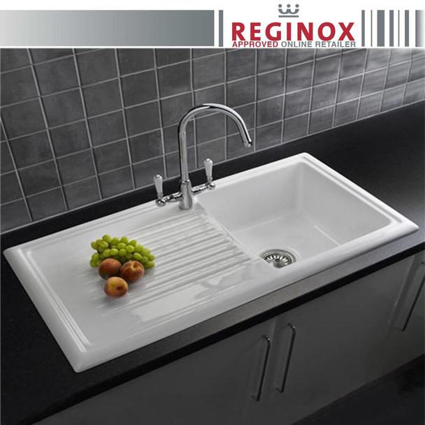 Reginox RL304CW 1.0 Bowl White Gloss Ceramic Reversible Kitchen Sink  & Waste Kit
