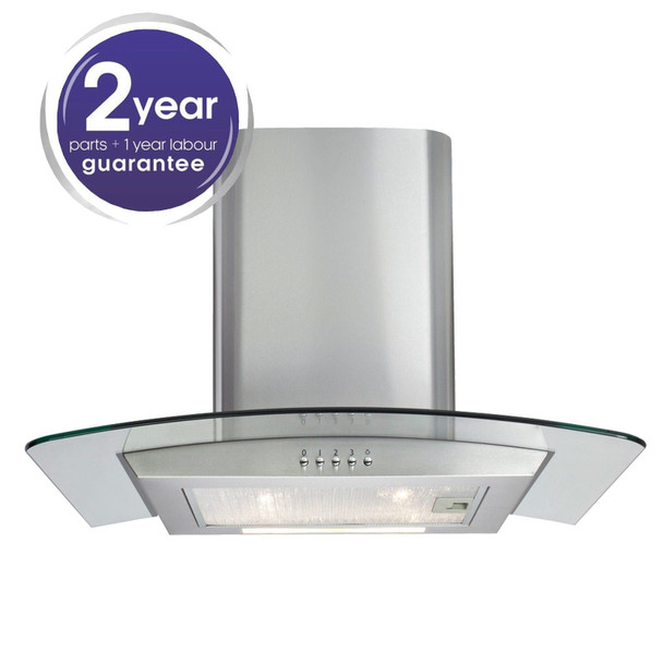 Matrix MEP601SS Stainless Steel 60cm Curved Glass Chimney Cooker Hood Extractor