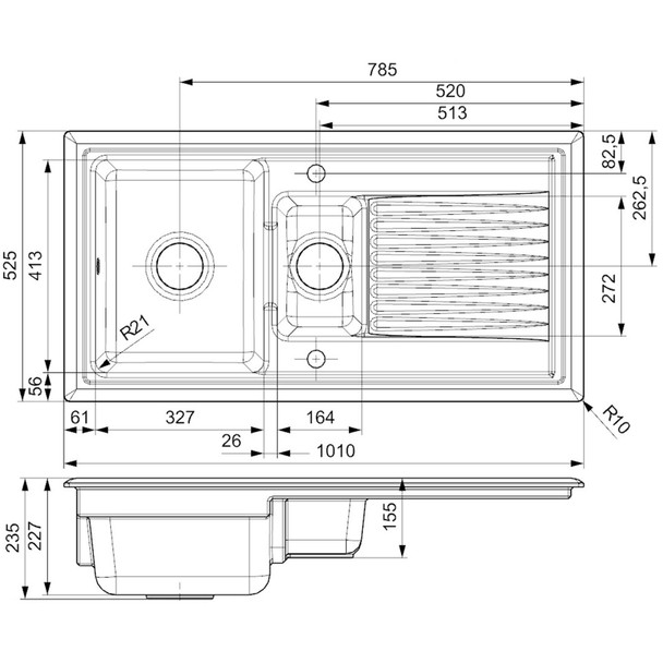 Reginox RL401CB 1.5 Bowl Black Gloss Ceramic Kitchen Sink With Waste  & Fittings