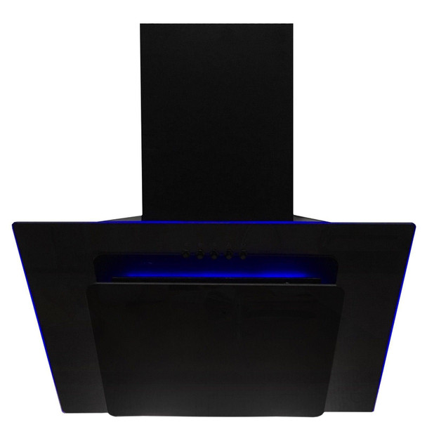 SIA 60cm Black Angled 3 Colour Edge Lit Cooker Hood Extractor Fan And 1m Ducting