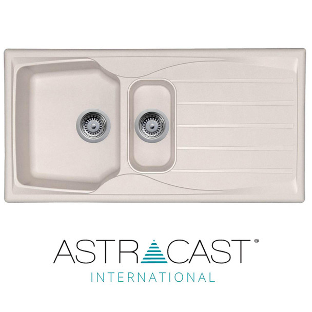 Astracast Sierra 1.5 Bowl Reversible Cream Kitchen Sink And Waste Kit