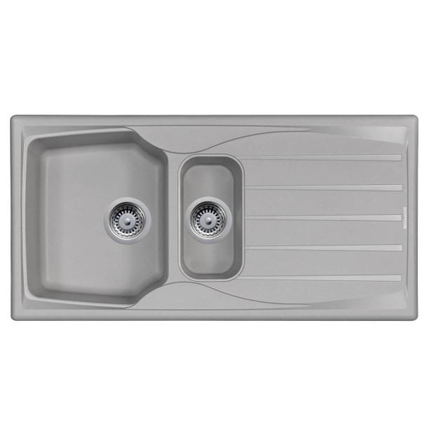Astracast Sierra 1.5 Bowl Reversible Light Grey Kitchen Sink And Waste Kit