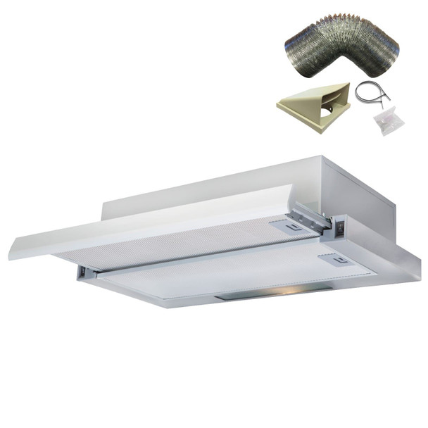 SIA TSH60SS 60cm Stainless Steel Telescopic Integrated Cooker Hood &1m Ducting