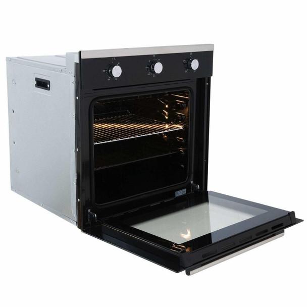 SIA Black 60cm Electric Single Fan Oven, 4 Burner Gas Hob And Visor Cooker Hood